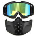 Motorbike Riding Detachable Modular Face Mask Shield Glasses Motorcycle Helmet Goggles Blue Yellow