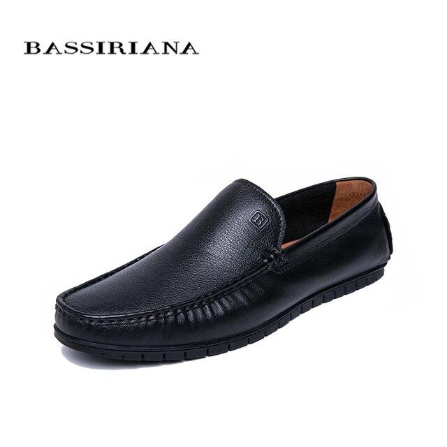 BASSIRIANA/Новинка 2019 года, мужская повседневная обувь, новая весенняя модная обувь из натуральной кожи высокого качества для мужчин, размеры 39-45, бесплатная доставка