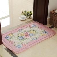 Romantic Flower Printing Carpet Bathroom Rug Mats 1 PCS PVC Anti Slip Bottom Bath Mat Carpet