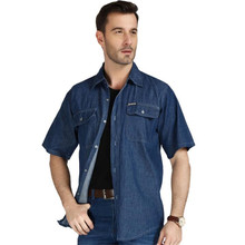 Denim Shirts Tops Short-Sleeve Casual Fashion Summer Man 4xl Men And Male 3xl A3605 Loose