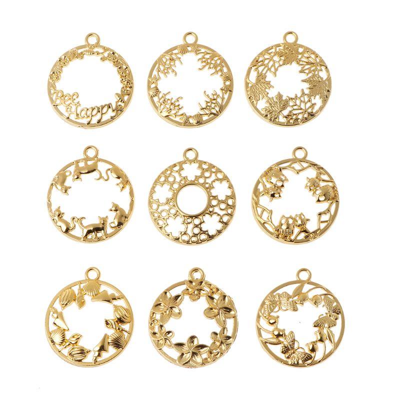9Pcs DIY Round Cabochon Pendant Resin Blank Frame Pendants Bezel Jewelry Making