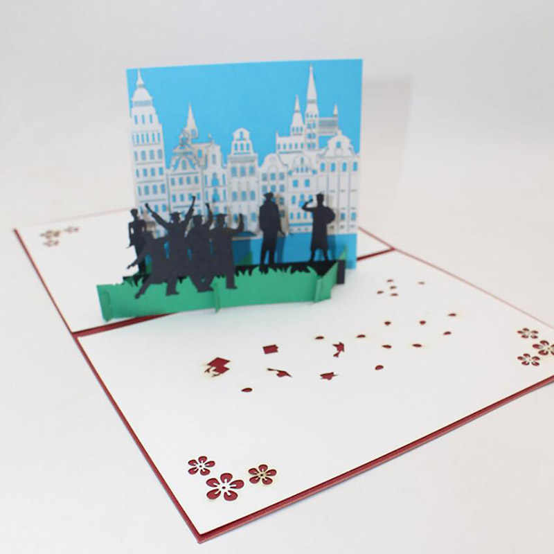 University Graduated Photographed Students Paper Greeting Card 3D Laser Cut Bachelor Master Doctor Graduation Postcards
