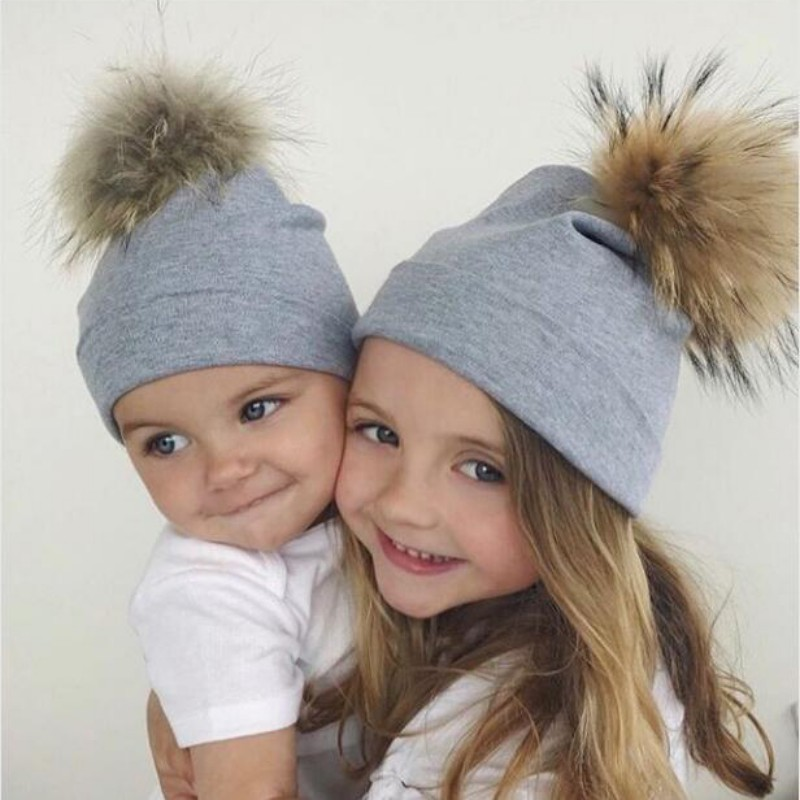 New Baby Hat Faux Fur Ball Baby Caps Cotton Child Autumn Boy Girl Cap Faux Fur Children Hat Newborn Baby Accessories цена