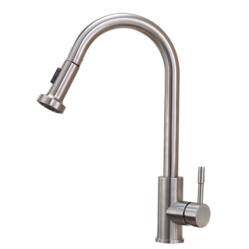 sus 304 stainless steel extractable kitchen faucet water