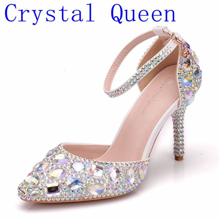 Crystal Queen Women Wedding Shoes Sweet Rhinestone Shoes Bride Shoes Princess Water Drill Dress Shoes High Heels Pumps Small Big(China)