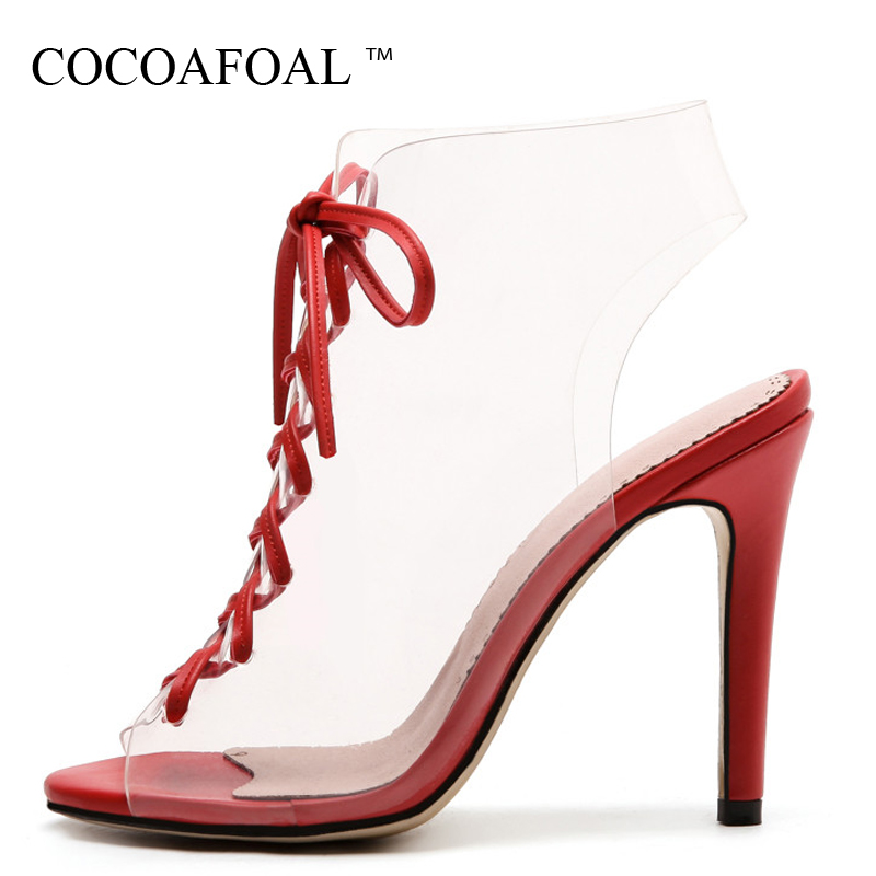 COCOAFOAL Women Transparent Heels Sandals Plus Size 33 43 Open Toe Shoes Sexy Peep Toe Red Green Lace Up Transparent SandalsCOCOAFOAL Women Transparent Heels Sandals Plus Size 33 43 Open Toe Shoes Sexy Peep Toe Red Green Lace Up Transparent Sandals