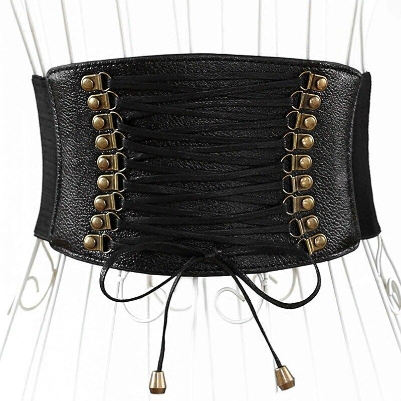 Corset Belt For Women Elastic Belt Wide Cummerbunds Punk Lace Up Waistband Harajuku Accessories Female Black Leather Decorate