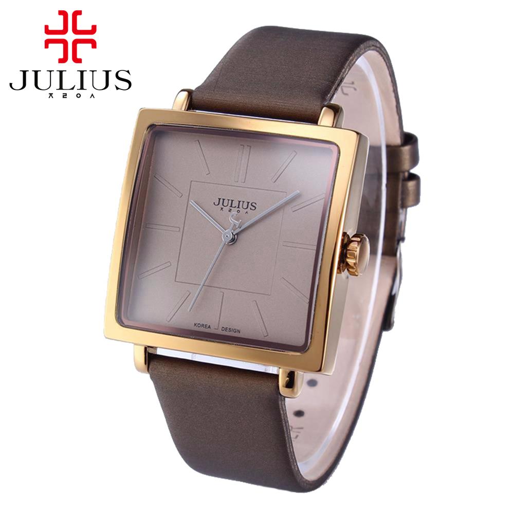 Prix pour Chaude femmes véritable bande de cuir grand cadran montre-bracelet Femelle carré montres femmes D'origine mode casual quartz montre Julius 354