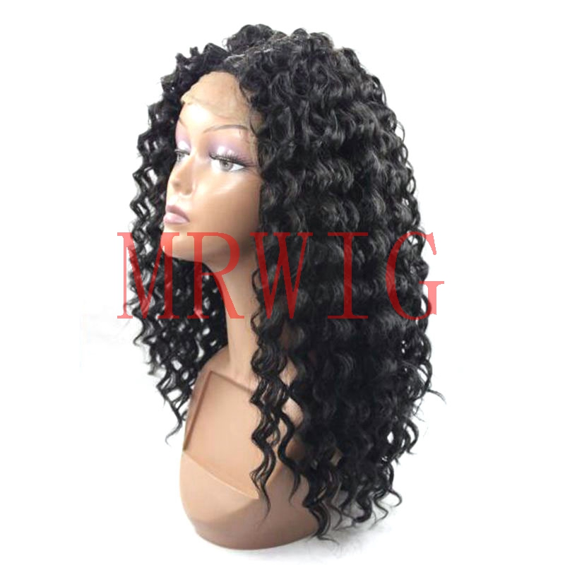 Afro kinky curly synthetic hair glueless lace front wig baby hair ,curly synthetic lace front wig thin fine hair styles