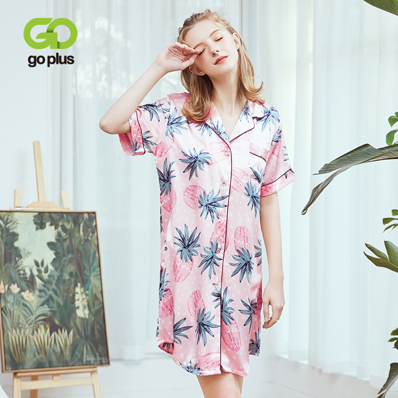 GOPLUS Women   Nightgowns   Sexy Fashion Pineapple Printed Satin Sleepwear   Nightgowns   &   Sleepshirt   Night Shirt Loose Home Wear C7880
