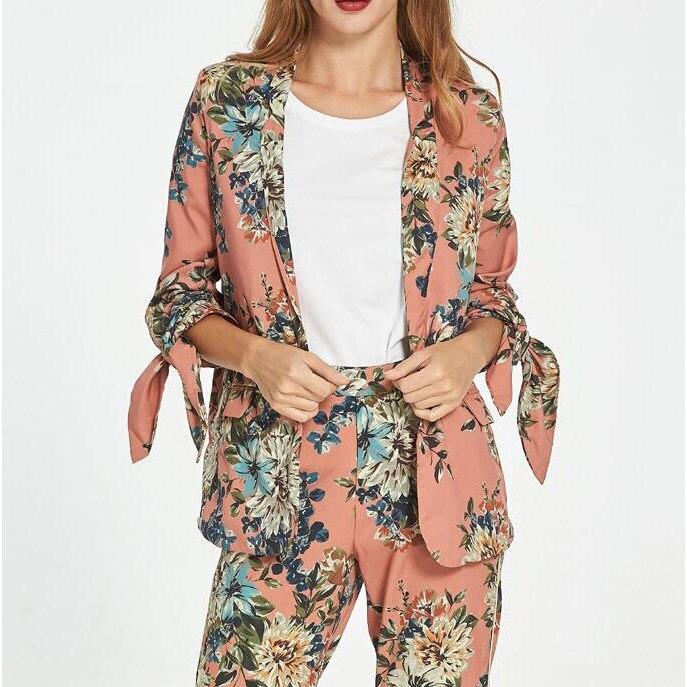 Fashion font b Women b font Floral Print Blazer font b Jacket b font Bow Long