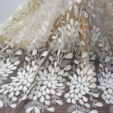 2D feathers lace fabric Beige color embroidery tulle mesh Sequins 1 Yard=1 lot Women dresses making top lace!