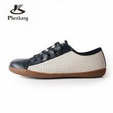 100% Genuine sheepskin leather men casual flats shoes comfortable flat breathable loafers sneaker black blue