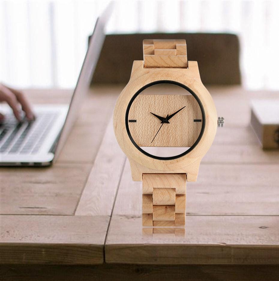 YISUYA Mens Women Natural Wood Watches Full Wooden Bamboo Wristwatch Fashion Hollow Dial Design Quartz Novel Handmade Clock Gift 2017 (20)