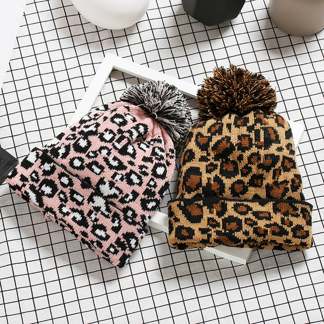 3a46c467143 Women Hat Warm Ear Adult Women Men Winter Leopard Crochet Hat Knit Hat  Beanie Hairball Warm