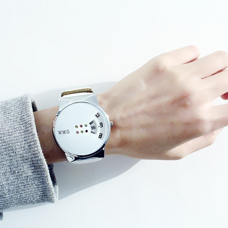 8SEASONS PU Leather Quartz Wrist Watches Black White Color Glass Creative Couple Watch Trendy Simple Women Men Jewelry, 1 Piece