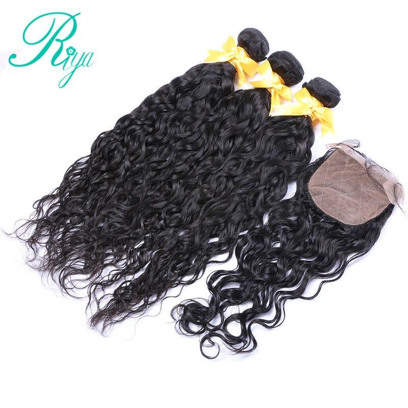 Riya Hair Brazilian Human Hair Water Wave Hair 3 4 Wave bundles with 4 4 Silk