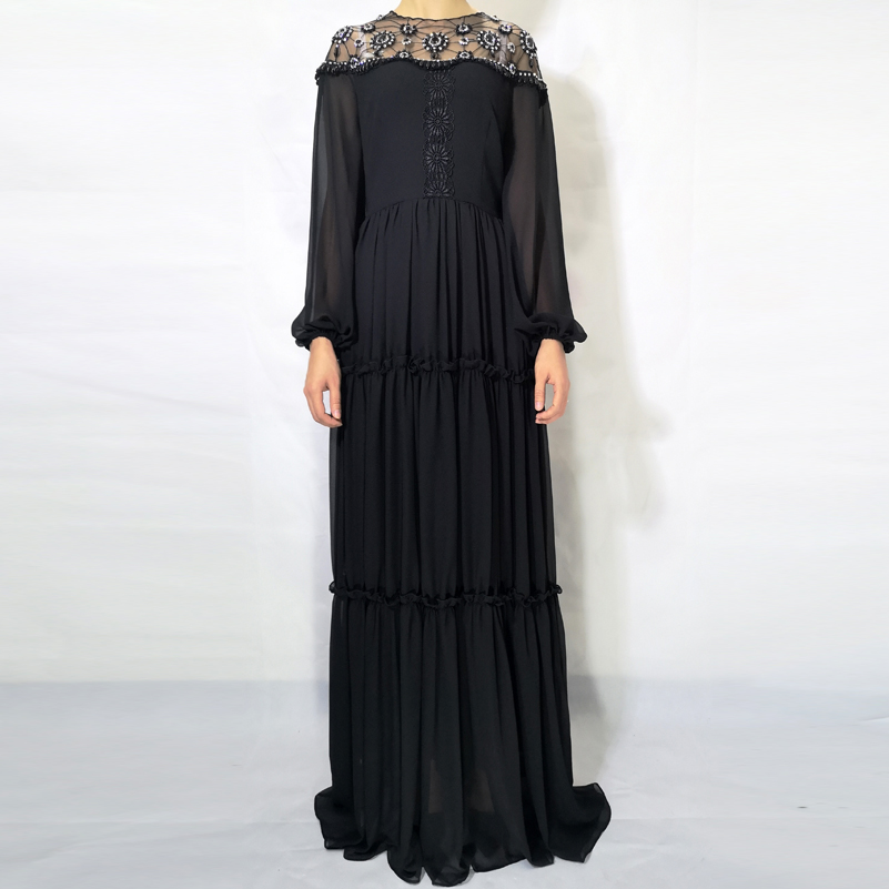 High quality 2019 fashion runway Maxi dress Women s Long Sleeve Lace Embroidered Crystal Beaded Deluxe