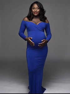 Image 3 - 2019 Cotton Maternity Photography Props Maternity Gown Dress Off Shoulder Sexy Women Pregnancy Maxi Dresses For Photo Shooting