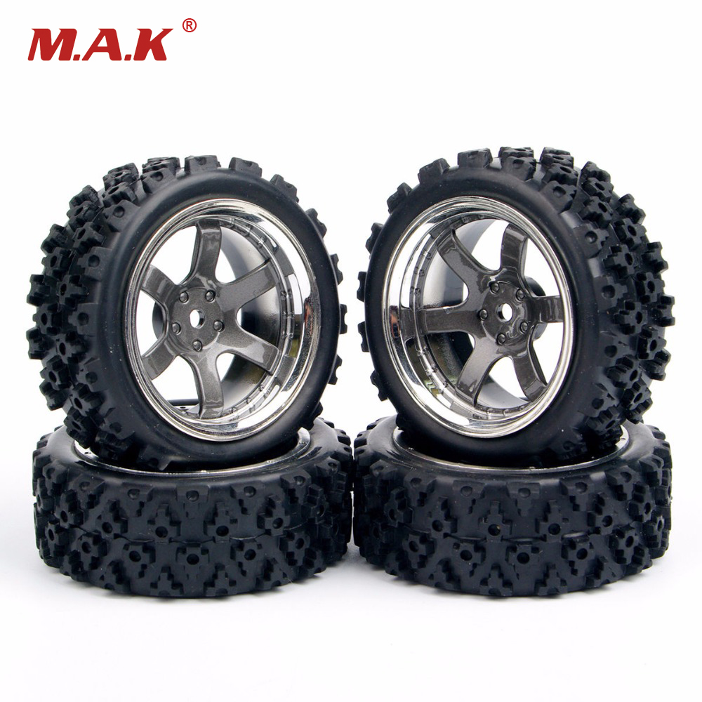 4X RC Rally Tires Wheel Rim PP0038+PP0487 For HSP RC 1:10 Off Road Racing Car RC Accessories 1 10 rc car model accessory toys aluminum alloy wheel rim brake disc hsp 00145s for rc on road racing car model