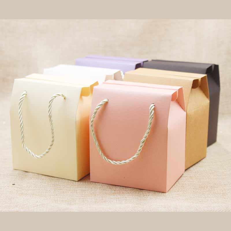 Mulit color gift box with handle string blank paper wedding/candy/teas/nuts/cookies/gifts package handle box 8.9*6.7*10.5cm 10pc