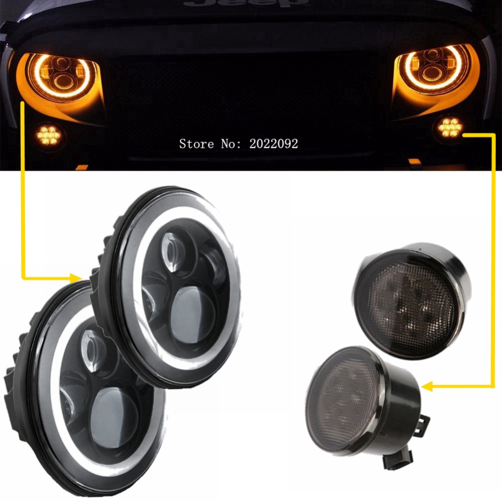 2 x 7 40W H4 H13 LED Headlight DRL Angel Eyes halo Ring Turn Signal light with 2 x Front LED Turning Signals 3w for Wrangler 104