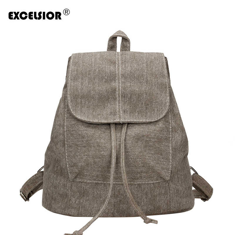 EXCELSIOR 2019 Canvas Female Backpack New Solid Casual Woman Backpack  School Bags for Teenager Girls Antitheft 240a98ba2d7aa