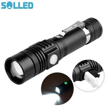 Solled Новый USB Выделите удобный Мощность ful Алюминий сплава фонарик Мощность советы-диапазон зумирования мини небольшой фонарик