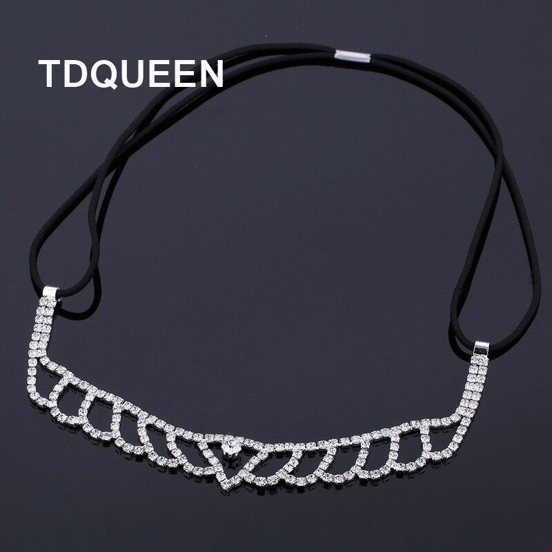 TDQUEEN Wedding Bridal Elastic Hairbands Rhinestone Head Chain Elegant Tiara Headbands Bride Hair Jewelry Accessories for Women