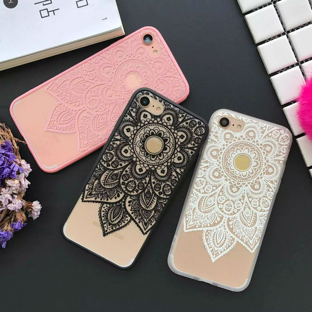 5671a042548 LOVECOM Datura Floral Phone Cases For Apple iphone 5 5S 6 6S 7 7 8 Plus X  Soft Silk Cover Classic Lace Mandala Flower Fundas