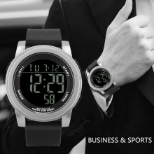 Retro Sports Casual Relogio Masculino LED Watch Digital Display Date Silica gel Strap Quartz Electronics Clock Wristwatch