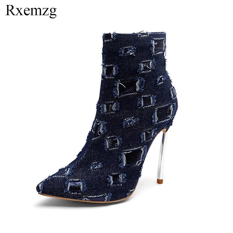 Dark Tacones Botas Cm Sexy Mujeres Botines Dedo Calzado Blue 12 Pie Denim De Rxemzg Zapatos La Moda Felpa Punta Borla Señoras Blue light Del Invierno xq1tX