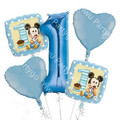 5pcs Baby Shower Number 1 Balloon Mickey Helium Foil Balloons Baby 1st Happy Birthday Party Decoratio Air blue Globos