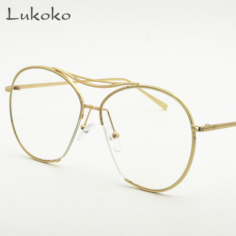 lukoko vintage eyewear frames women glasses men retro fashion clear lens eye gold glasses frames male