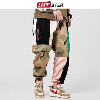 LAPPSTER Hip Hop Camo Color Block Cargo Pants Men Harem 2020 Overalls Mens Japanese Steetwear Sweatpants Cotton Trousers - discount item  41% OFF Pants