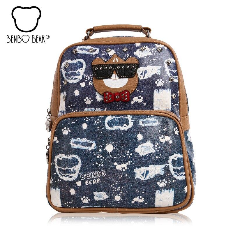 Benbo bear High Quality Printing Backpack Women Cute College Wind School Bags for Teenage Girl PU