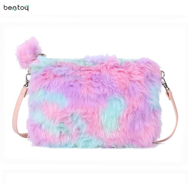 New Fashion Female Leather Messenger Bag Women Cute Pink Mini Fur Plush Crossbody Shoulder Bag Handbag For Girl Schoolbag Bolsa