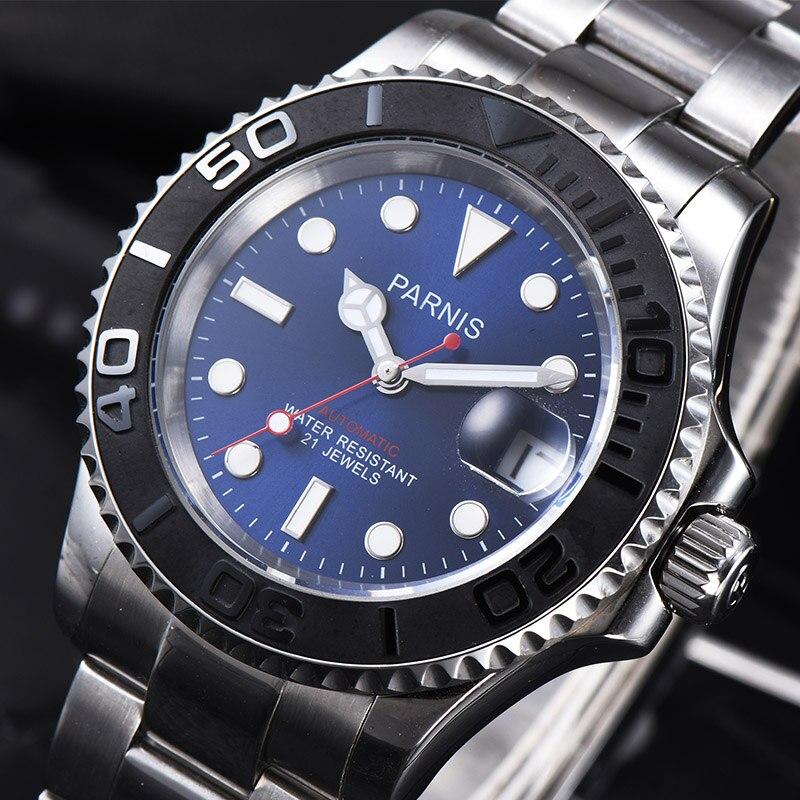 Parnis автоматические часы Diver Плавание Водонепроницаемый 21 Jewel Miyota8215 двигаться Для мужчин t механические часы с кожаным металлический ремешок