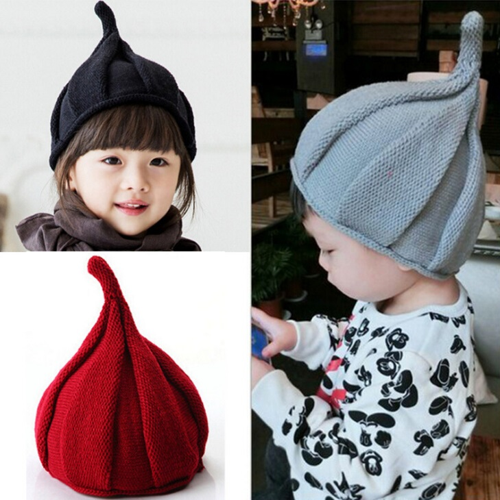 0fec37f43 US $1.59 20% OFF|Bnaturalwell Baby boy girl winter hat Kids knit beanies  Nipple shape pointed warm bonnet Toddler knitted cap sharp top hats H004-in  ...