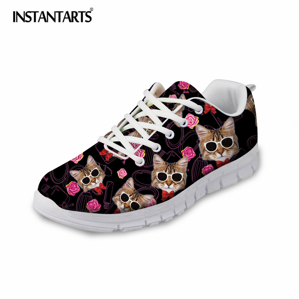 INSTANTARTS Cute Glasses Cat/Kitty Print Women Flats Shoes Fashion Comfortable Mesh Shoes Casual Spring Sneakers for Teens Girls instantarts cute women flat shoes puppies samoyed flower printed teen girls spring mesh flats shoes fashion comfortable sneakers