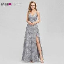 Ever Pretty gris paillettes robes de soirée longue col en v côté fendu Sexy étincelle formelle robes de soirée EP07957GY Abiye Gece Elbisesi