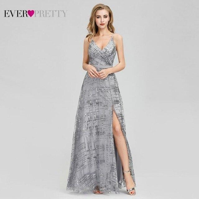 Ever Pretty, серые вечерние платья с блестками, Длинные вечерние платья с v образным вырезом и разрезом по бокам, сексуальные блестящие вечерние платья EP07957GY Abiye Gece Elbisesi