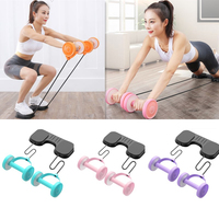 Dual Wheels Abdominal Roller Sports Stretch Elastic Abdominal Yoga Resistance Pull Rope Tool Fitness Home Gym Equipment