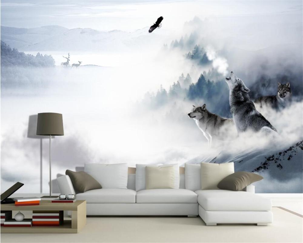 Beibehang Custom wallpaper modern Silk material background wall wolf totem snow mountain elk home decoration mural 3d wallpaper