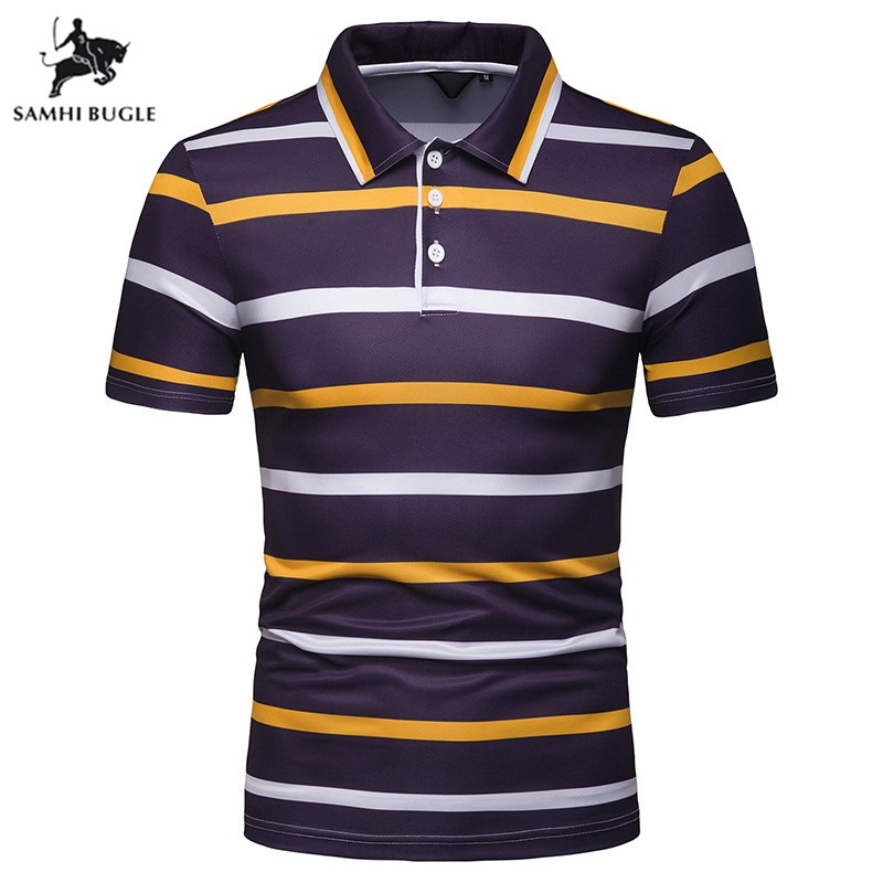 2019 High Quality Tops&Tees   Polo   Shirt Men fashion Style Summer Striped brand short sleeve   polos   para hombre