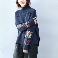 Vintage Retro Ethnic Top Femme Jumpers Ladies Dames Truien Blue Blak Red Patchwork Turtleneck Thick Pullover Women Fall Sweater