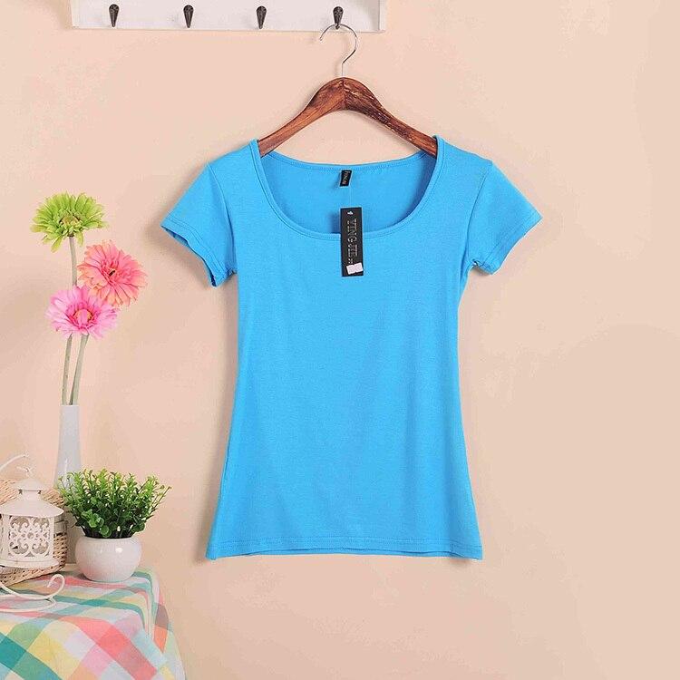 Базовые Стрейчевые топы размера плюс,, Летний стиль, короткий рукав, футболки для женщин, u-образный вырез, хлопок, женские футболки, повседневные футболки - Цвет: W00630 sky blue