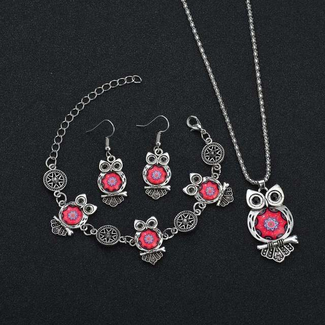 MissCyCy Ancient Silver Color Owl Jewelry Set New Synthetic Blue Stone Pendant Necklace 3