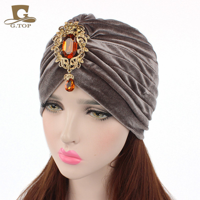 46f27ee7ab2 New gorgeous soft Velvet turban velour Hair cover headwrap Hijab Hat with  gold jewelry pendant