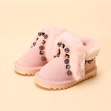 2016 Fashion girls snow boots rivet kids leather boots warm shoes with fur princess tiddler baby girls winter  boots